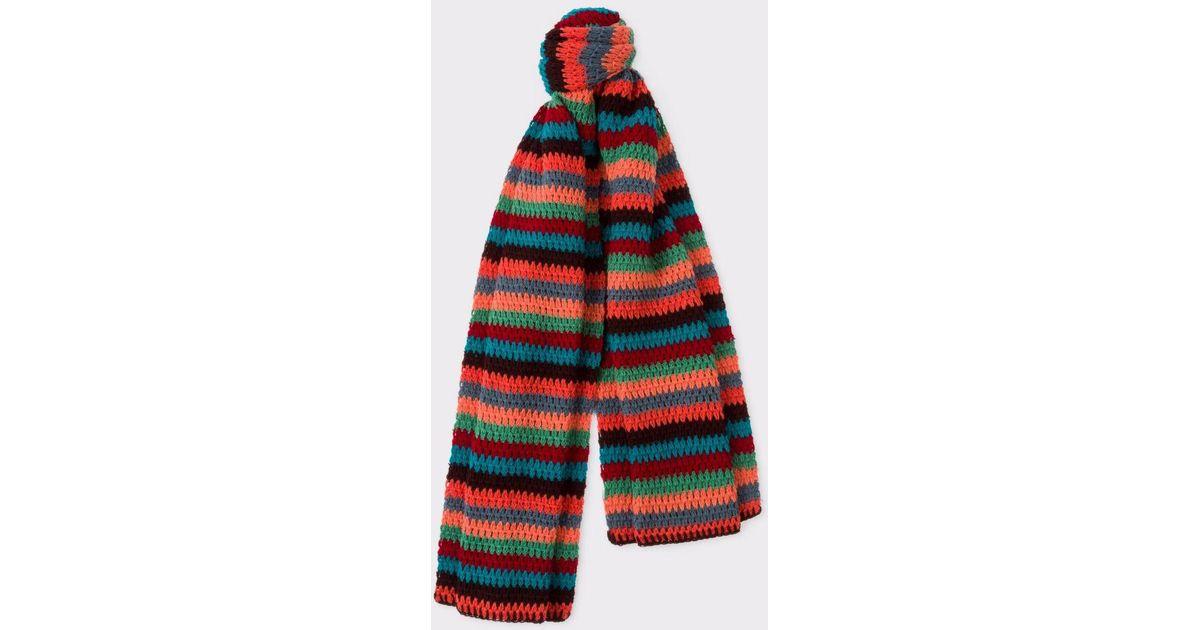 Lyst Paul Smith Mens Multi Coloured Stripe Crochet Scarf For Men