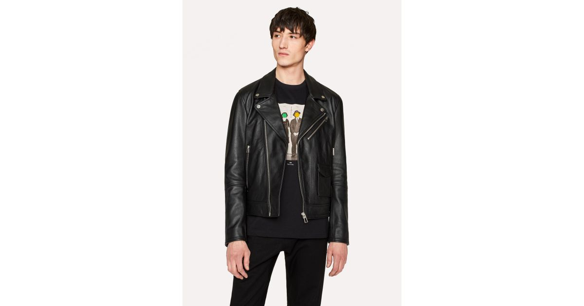 82252f802e54f7 Lyst - Paul Smith Heavy Grained-Leather Asymmetric-Zip Biker Jacket in Black  for Men
