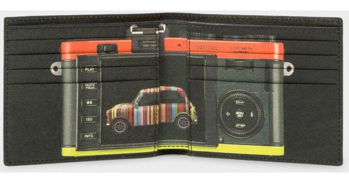 Lyst Paul Smith Men 39 S Black Leather 39 Leica Mini 39 Print Interior Billfold Wallet In Black For Men