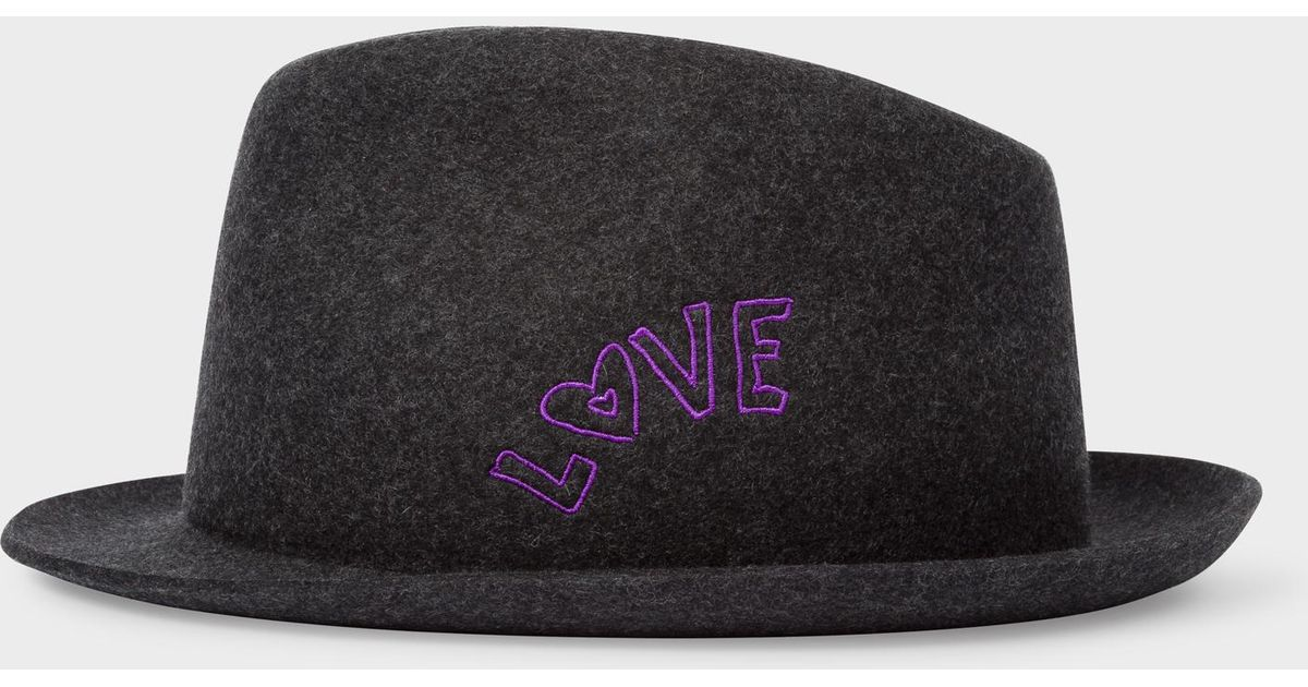 Lyst - Paul Smith Charcoal Grey  Love  Embroidery Wool-Felt Hat in Gray for  Men 4902d73ca68