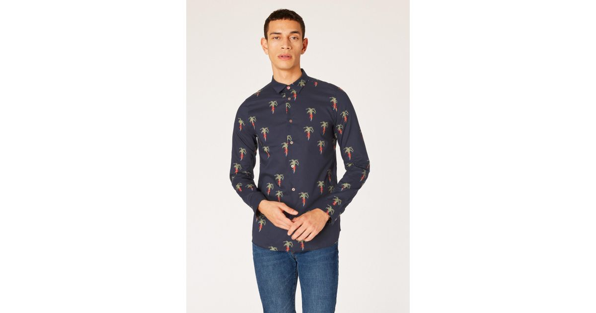c04125764b25 Lyst - Paul Smith Slim-fit Dark Navy 'palm Tree' Print Stretch-cotton Shirt  in Blue for Men