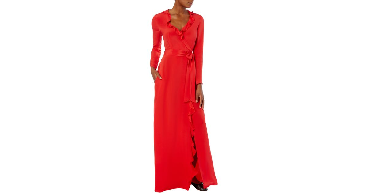 5500a2a2ffc Goat Hollywood Ruffle Trimmed Silk Dress in Red - Save 5% - Lyst
