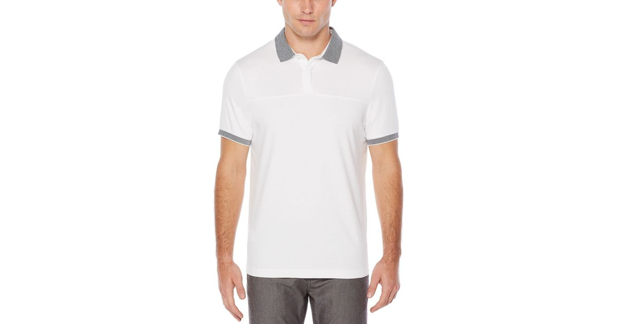40699ed496 Lyst - Perry Ellis Short Sleeve Checkered Collar Polo in White for Men