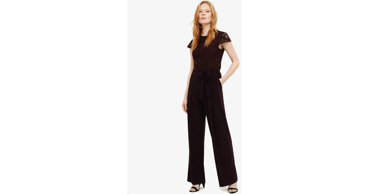 7ee29efd504 Phase Eight Vicki Lace Bodice Jumpsuit in Black - Save 31% - Lyst