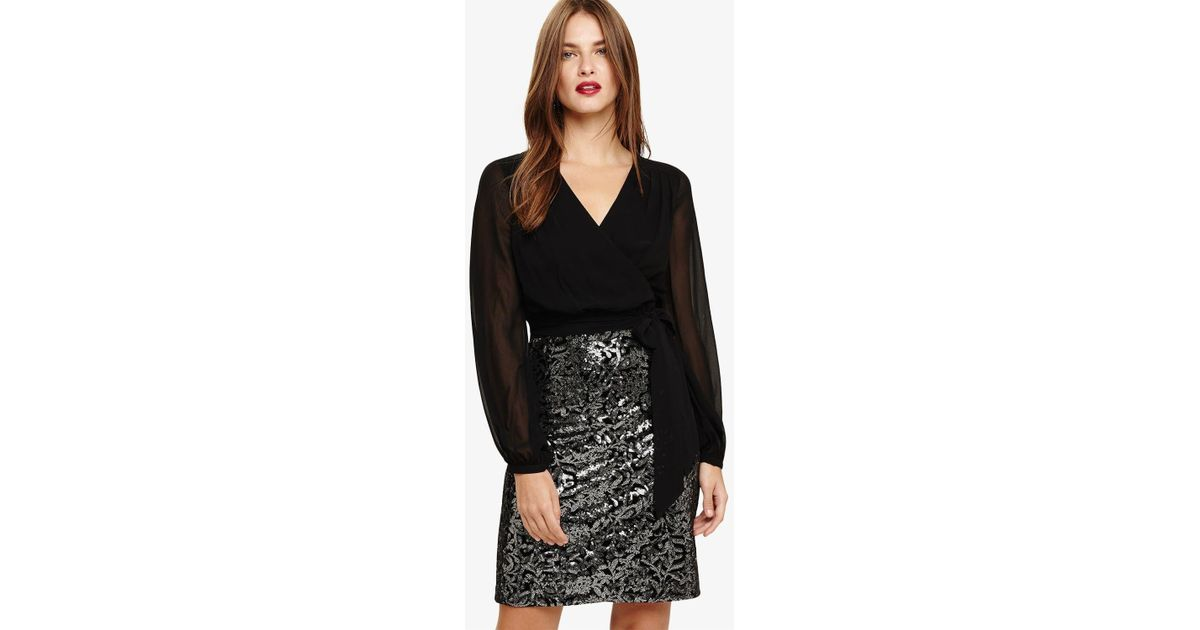 d7e6d0e2 Phase Eight Black And Silver Janessa Sequined Dress in Black - Lyst