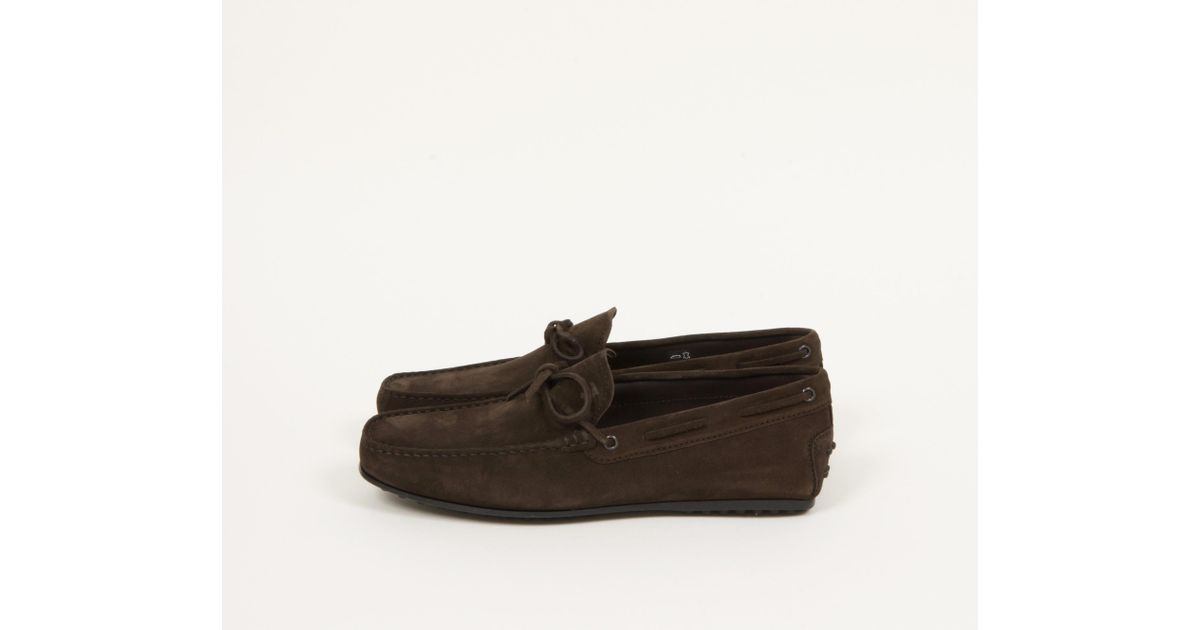 52fd60b4be3 Lyst - Tod s City Gommino Suede Driving Shoes Dark Brown in Brown for Men