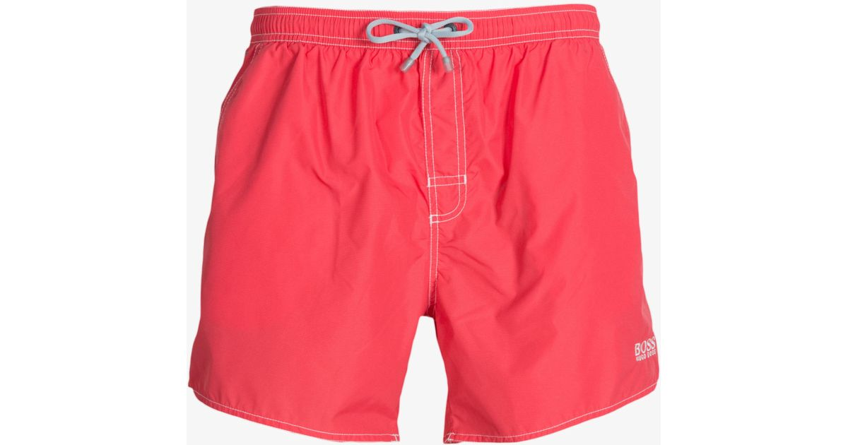 63e71264ab Lyst - BOSS 'lobster' Swim Shorts With Leg Logo Coral in Pink for Men