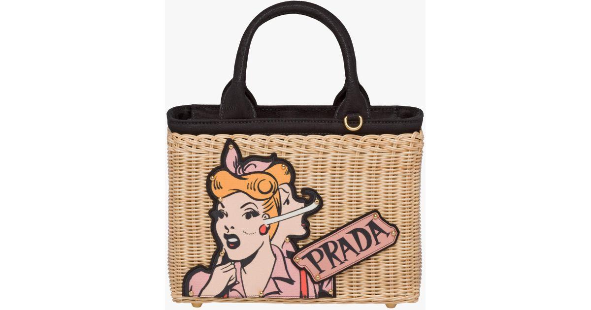 ... reduced lyst prada wicker bag with patch 930e1 1ee93 f7eb719b0d5b4