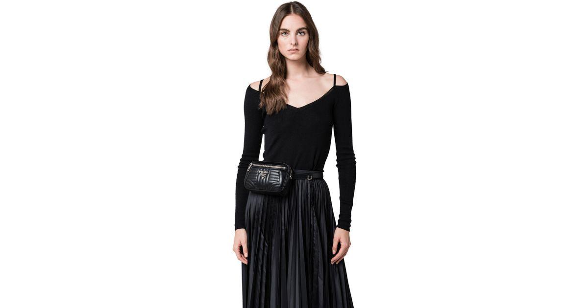 af2f70fe7cbd Prada Diagramme Leather Belt Bag in Black - Lyst