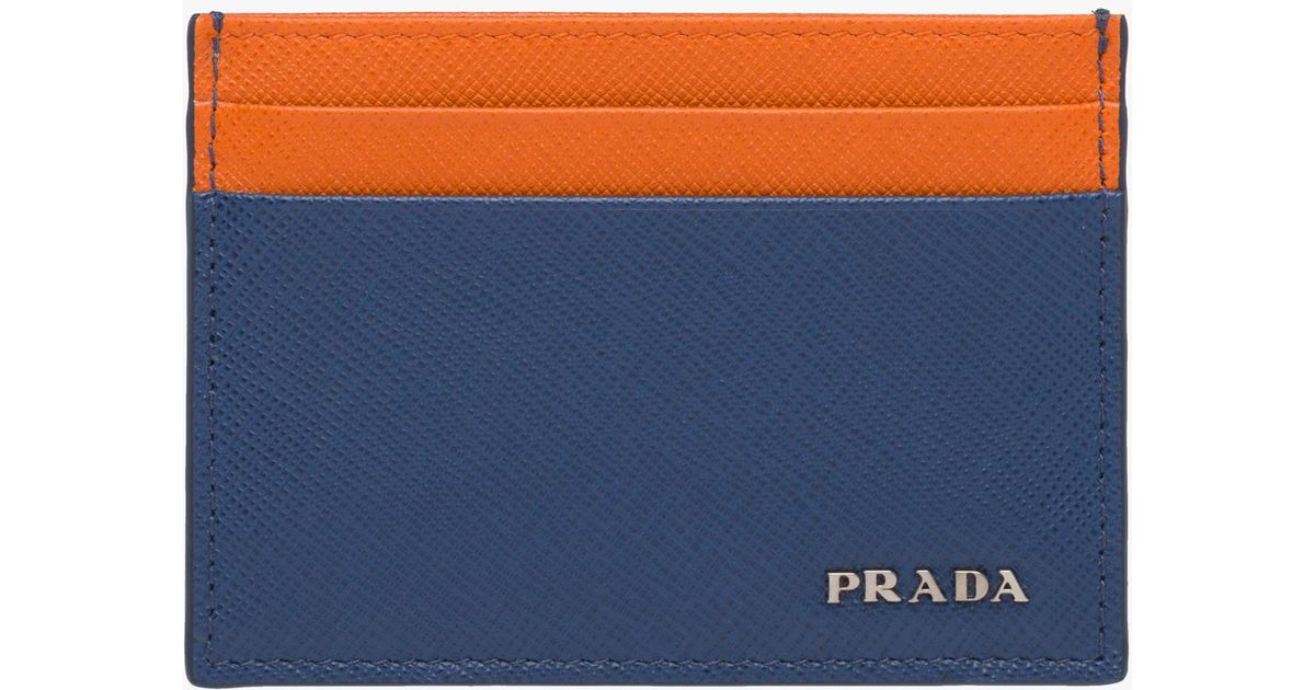 10c5bf1c448a ... inexpensive prada saffiano leather card holder in blue for men lyst  6dd17 f775b