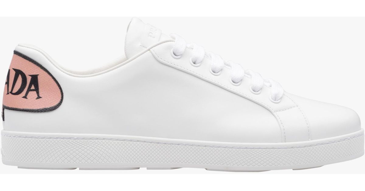 e20c8573bee585 ... where can i buy lyst prada leather sneakers in white for men 0adc3 da9f0