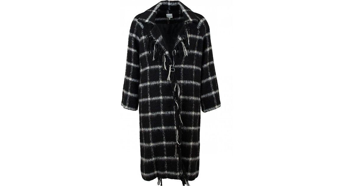 794ad968820 Lyst - Silvian Heach Murrindidi Wool Checked Boyfriend Coat in Black