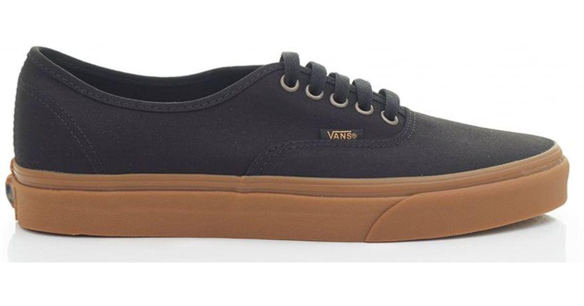 16eb6b35e914 Lyst - Vans Authentic Gum Sole Canvas Trainers in Black for Men
