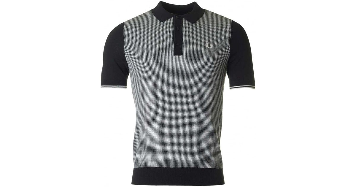 Lyst - Fred Perry Houndstooth Knitted Polo in Black for Men