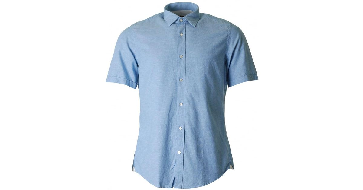 0f96a5cdf BOSS by Hugo Boss Luka 5 Short Sleeved Linen Shirt in Blue for Men - Lyst