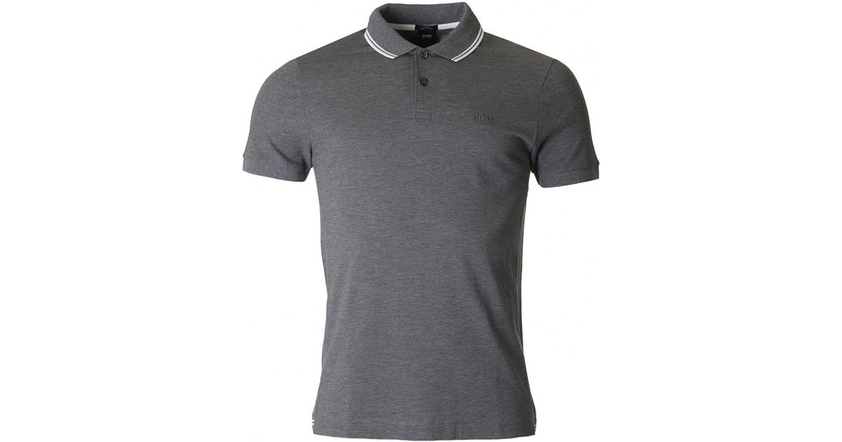 7645240fe Lyst - Boss By Hugo Boss Phillipson 13 Tipped Collar Polo in Gray for Men