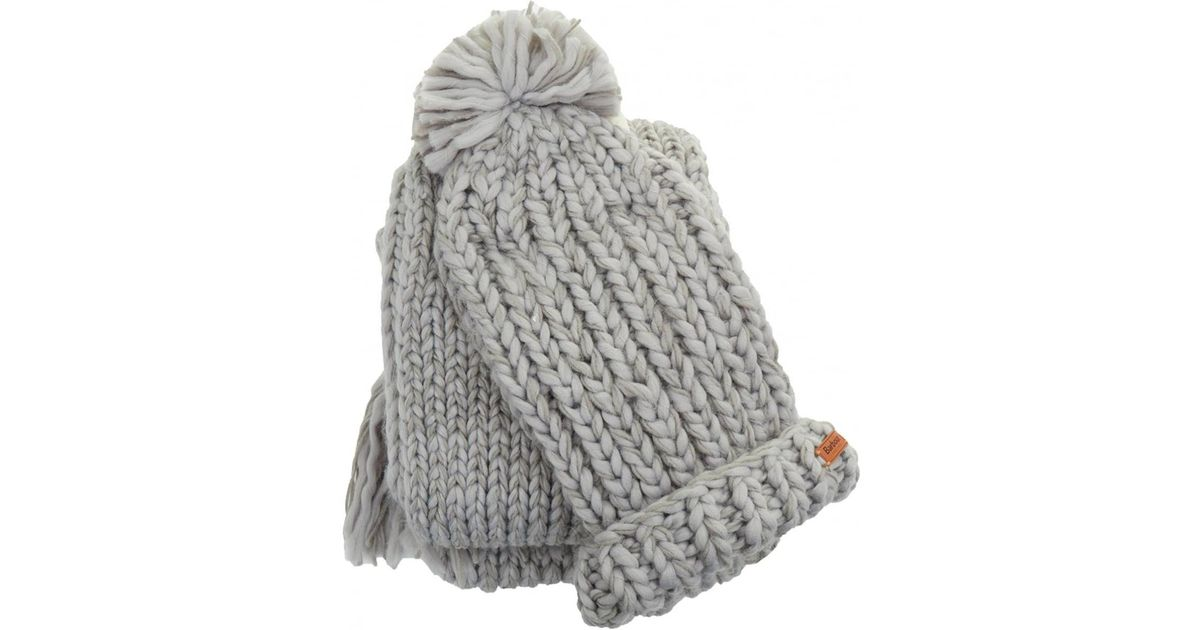 Barbour Chunky Knitted Hat And Scarf Set in Gray - Lyst ac190787c79