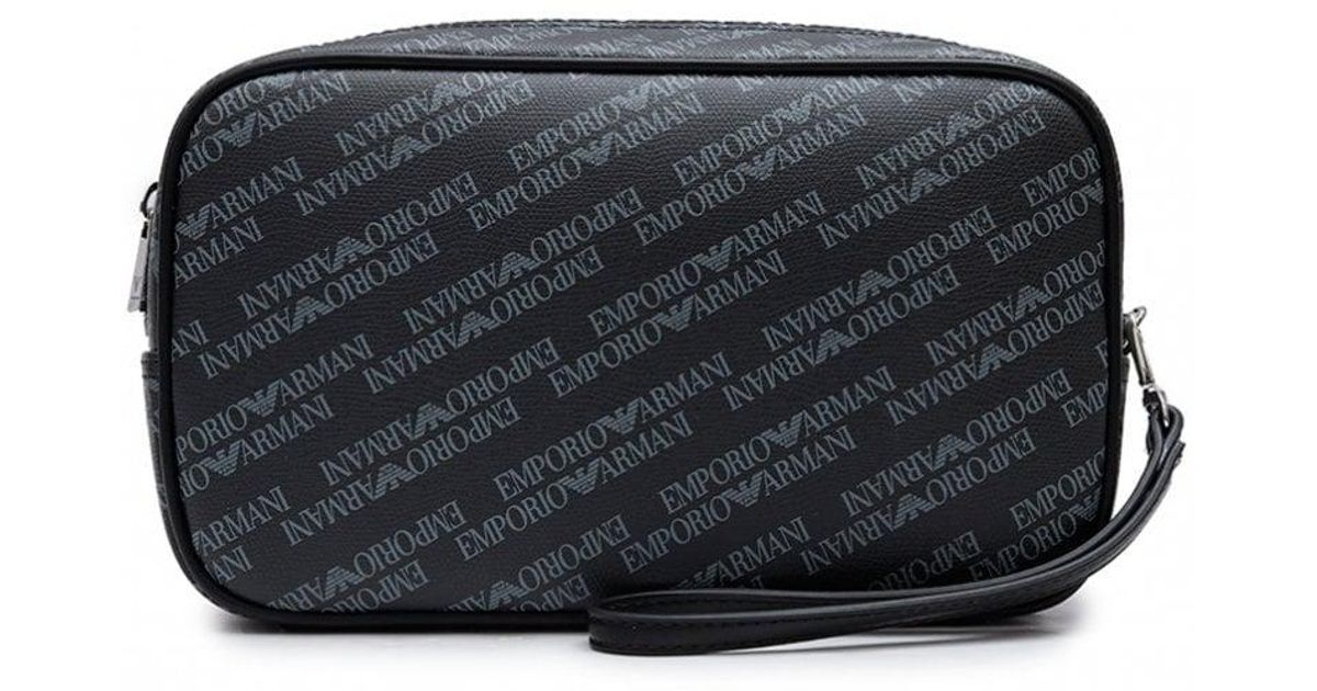 cc92399e68e3 Lyst - Armani Jeans All Over Leather Wash Bag in Black for Men