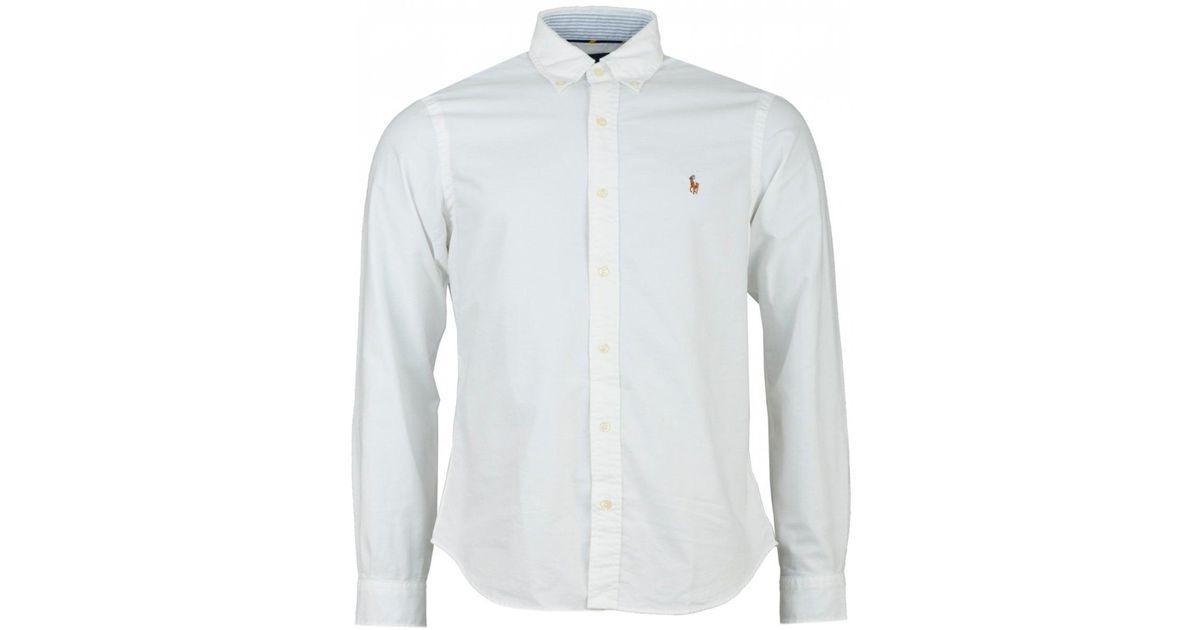 Lauren Fit Oxford Ralph Lyst Men Polo White Custom For Sleeved Long Shirt ZuPOkXi