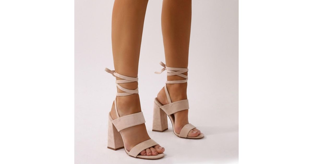 b6d0fe75003c Lyst - Public Desire Bailey Lace Up Block Heels In Nude Faux Suede in  Natural