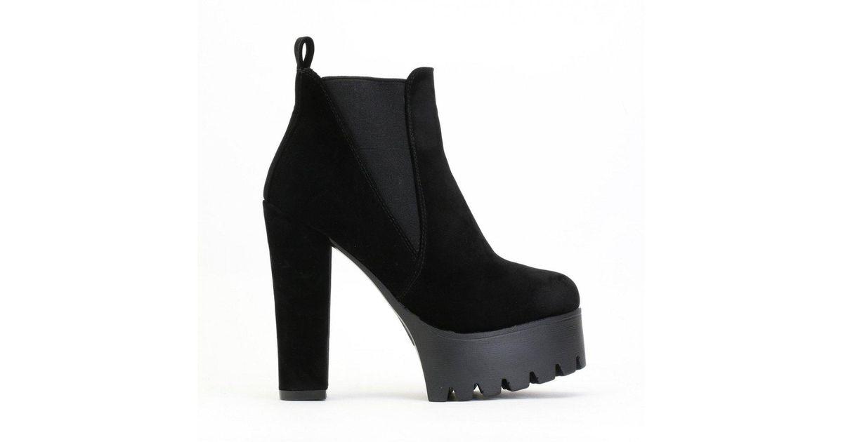 d11fe6fe31cb Lyst - Public Desire Hallie Black Faux Suede High Heel Chelsea Boots in  Black