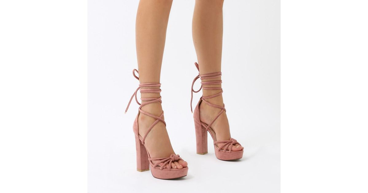 214b75afb1a5fb Lyst - Public Desire Tassie Knotted Lace Up Platform Heels In Blush Pink  Faux Suede in Pink