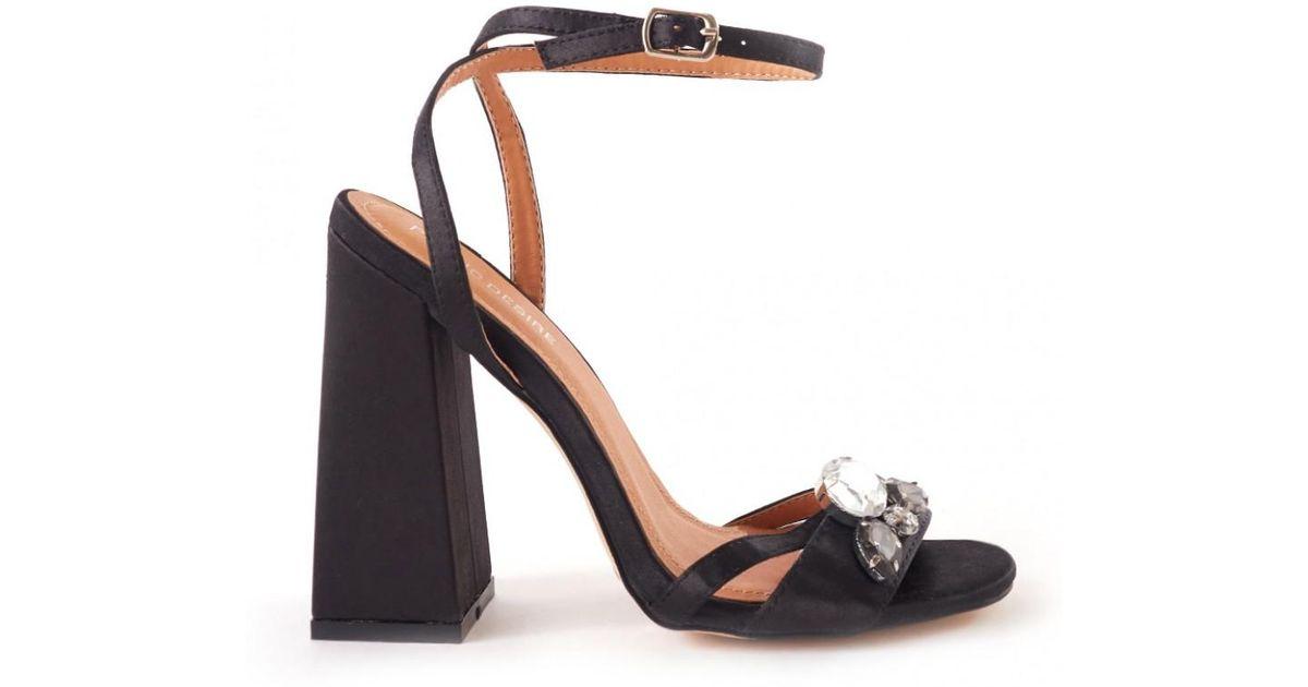 441e126d64e9 Lyst - Public Desire Harrow Wrap Around Strappy Heel With Jewel Detail In  Black Satin in Black