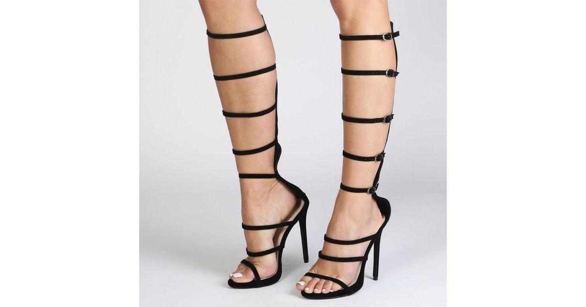 16aef6c805f7 Lyst - Public Desire Sabina Strap Stiletto Heels In Black in Black