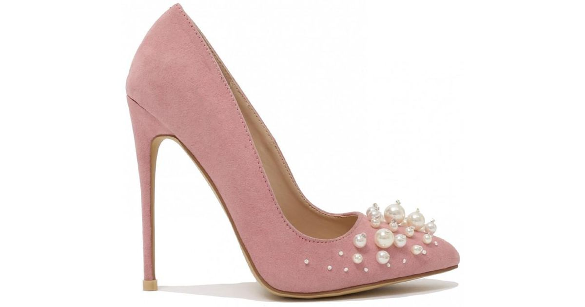 5f0fcf19d05e Public Desire Mayfair Pearl Pointed Toe Stiletto Heels In Blush Pink Faux  Suede in Pink - Lyst