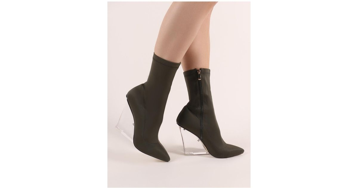 Lyst - Public Desire Glance Perspex Wedge Ankle Boots In Khaki