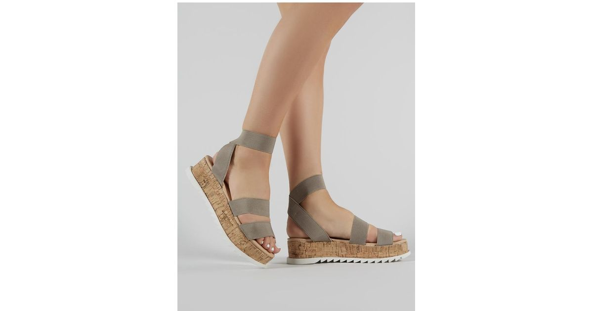 c96719feac44 Lyst - Public Desire Cassie Elasticated Strappy Flatform Sandals In Taupe  in Brown