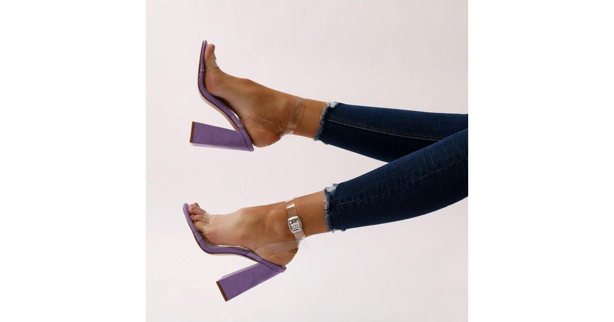 8d3bbe499fd Lyst - Public Desire Charlotte Perspex High Heels In Purple Faux Suede in  Purple