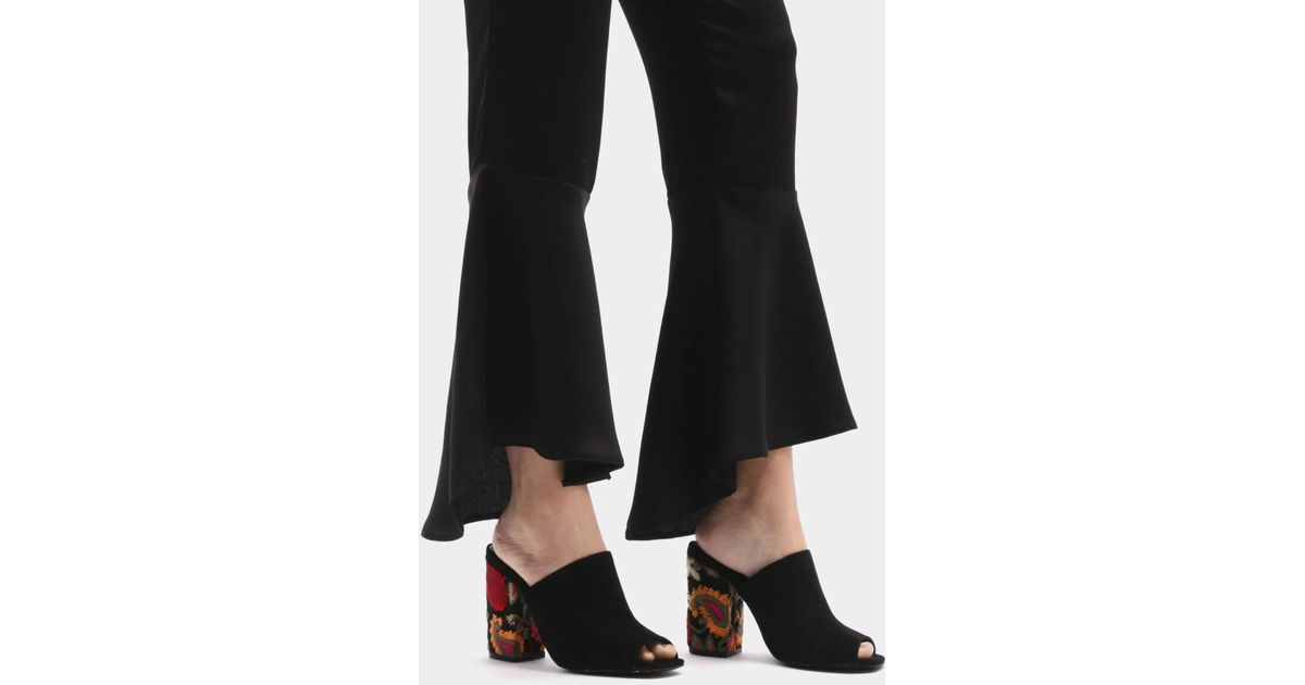 21ffaeaf9af Lyst - Public Desire Sian Embroidered Block Heel Mules In Black Faux Suede  in Black