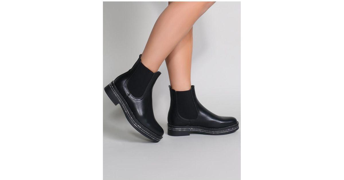 cd9b7f4a3 Public Desire Glare Chelsea Boots In Black in Black - Lyst