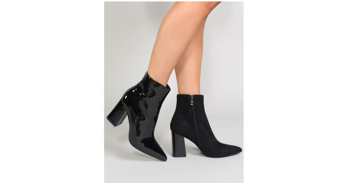 995188bc475 Public Desire Chaos Contrast Pointed Toe Ankle Boots In Black Patent And  Faux Suede in Black - Lyst