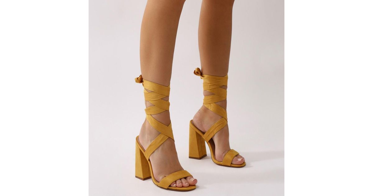 cf0efd556a8 Lyst - Public Desire Honesty Lace Up Flared Block Heels In Mustard Faux  Suede in Brown
