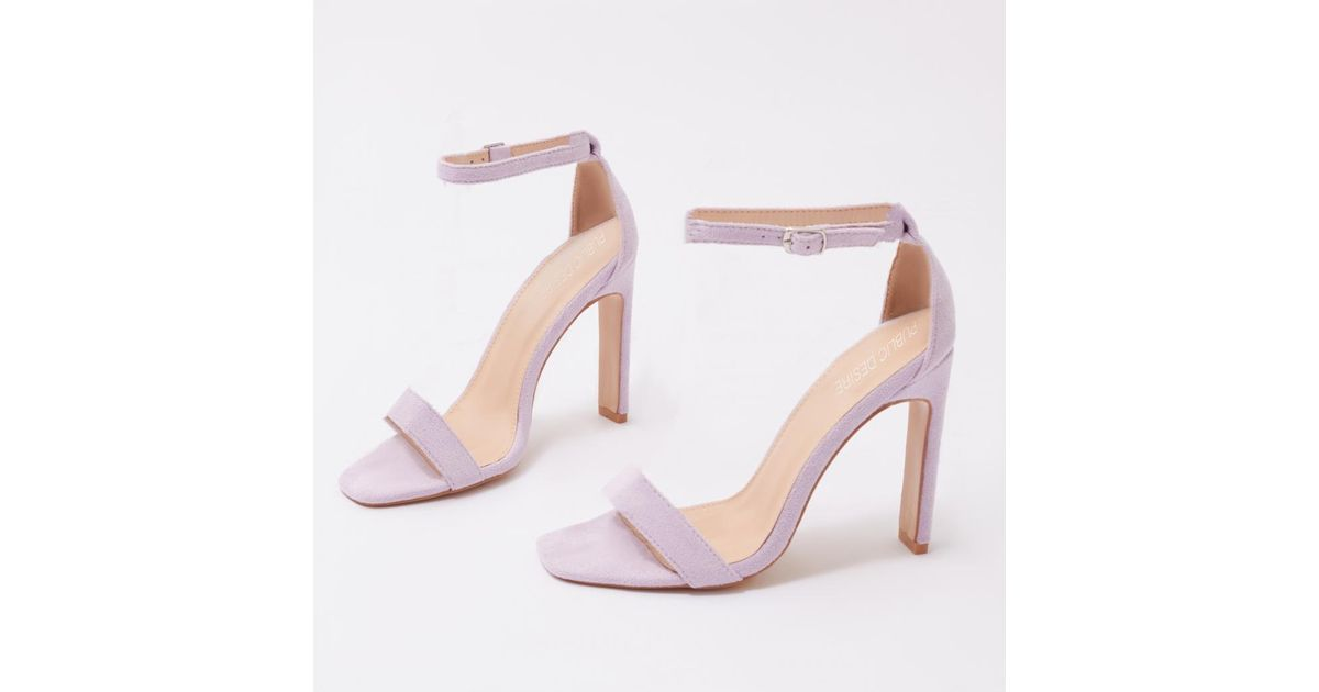 7ea4aec8470 Lyst - Public Desire Crown Barely There Flat Block Heels In Lilac Faux  Suede in Purple