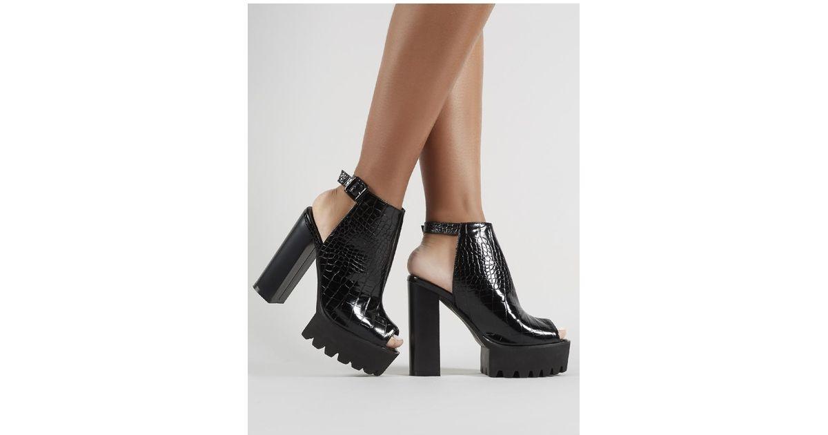 7f68da70eb7 Lyst - Public Desire Jada Cleated Platform Block Heels In Black Croc in  Black