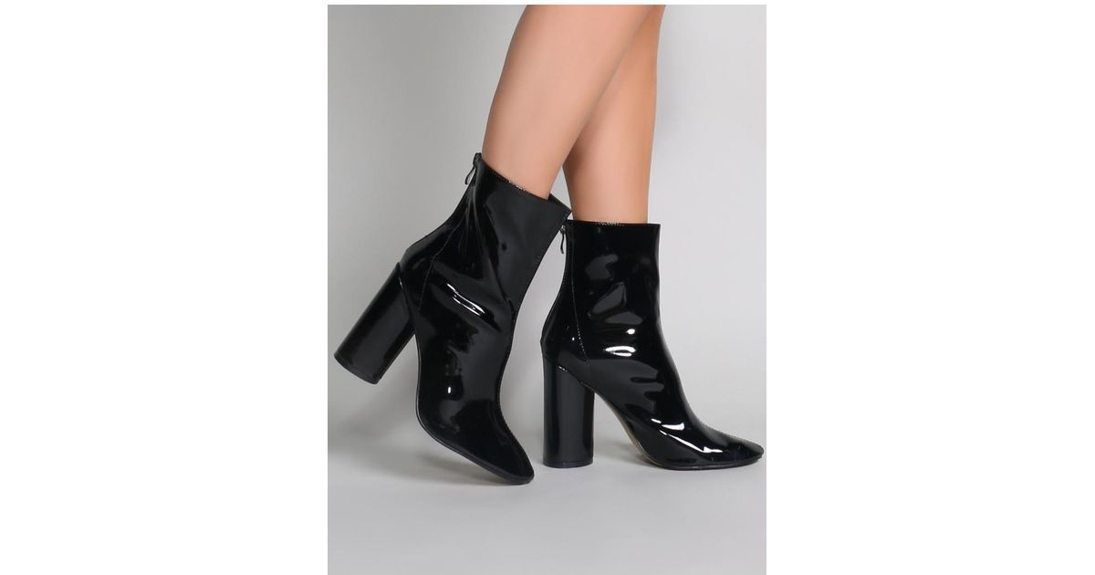 e5c95ddac63 Public Desire - Impact Round Block Heel Ankle Boots In Black Patent - Lyst