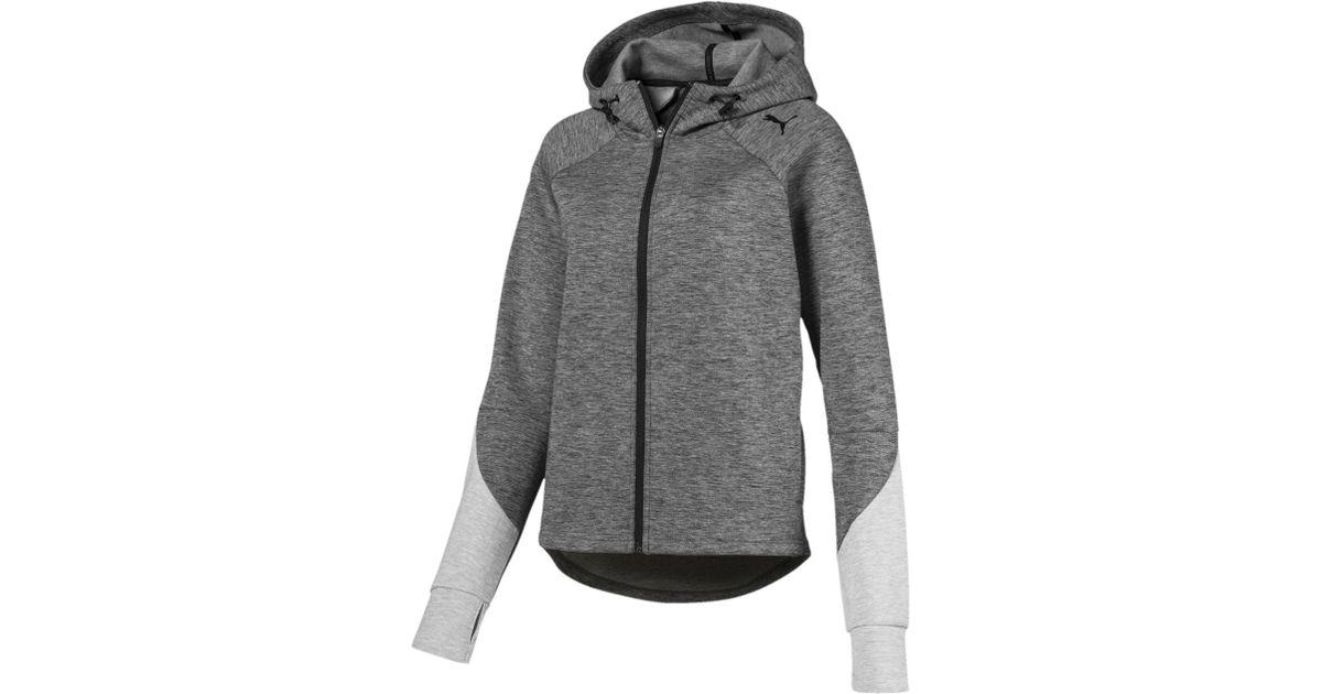 887541cef7 PUMA - Gray Evostripe Full Zip Women's Hoodie - Lyst