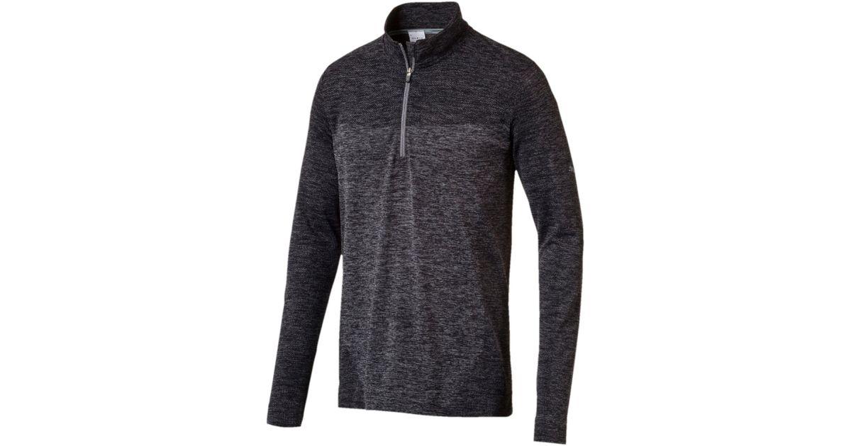 47a51443a5 PUMA - Black Golf Men's Evoknit Seamless 1/4 Zip Sweater for Men - Lyst