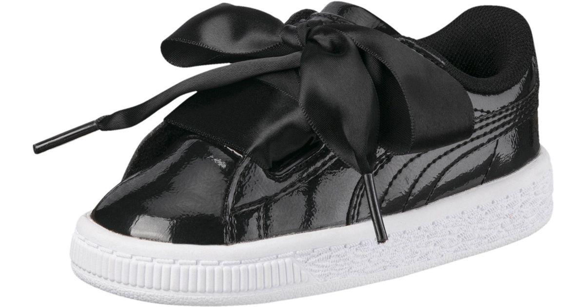 03219f606aad Lyst - PUMA Basket Heart Glam Preschool Sneakers in Black