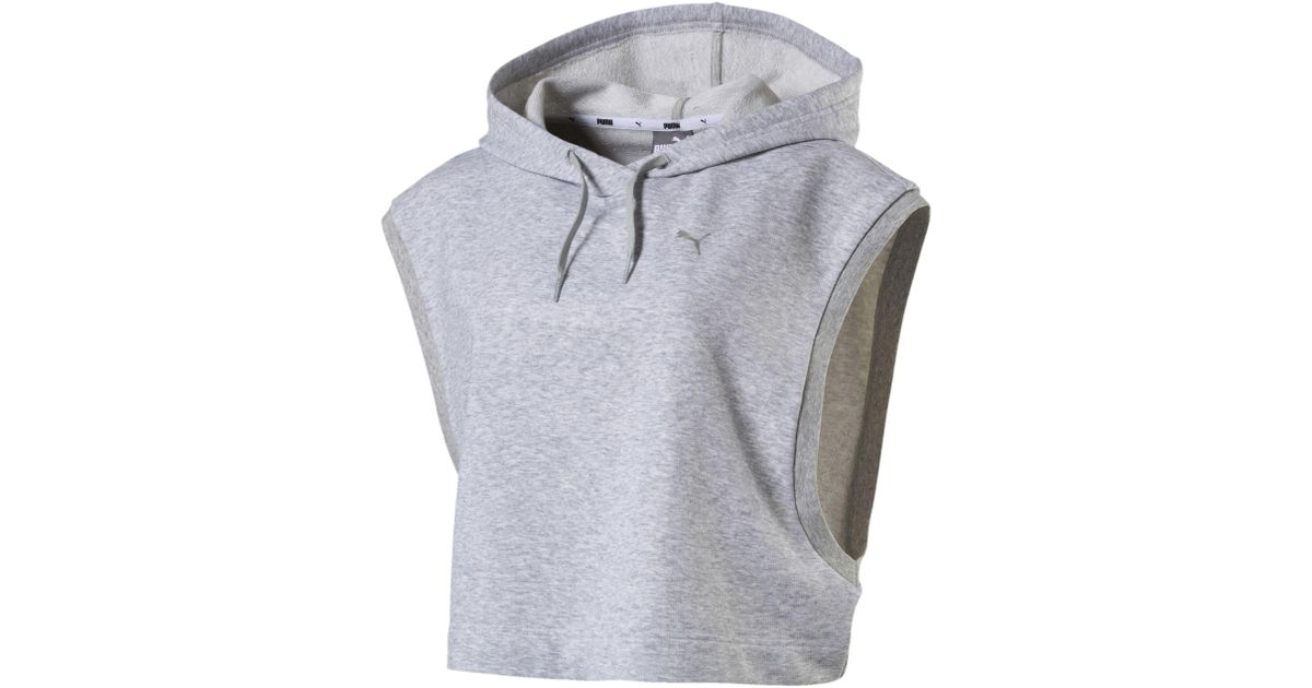769d37762fd226 Lyst - PUMA Women s Summer Cropped Sleeveless Hoodie in Gray