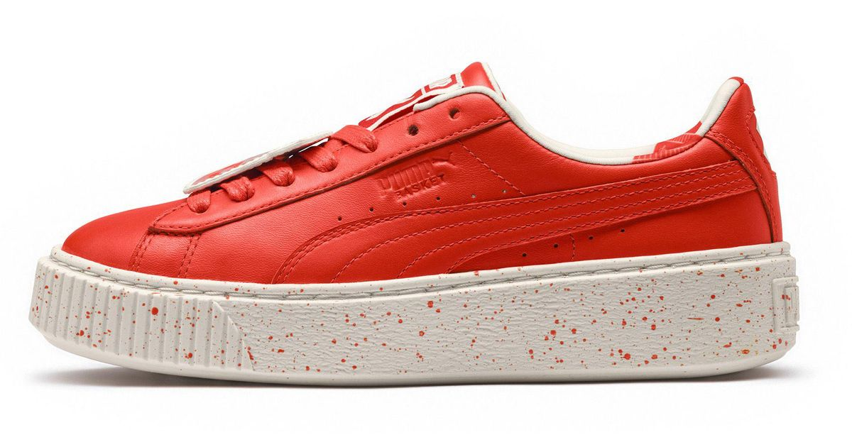 info for a9008 e7bcd Lyst - PUMA X Tinycottons Platform Jr Sneakers in Red