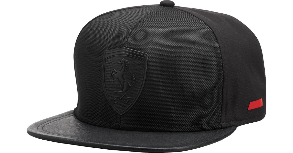 ... uk lyst puma ferrari flat brim hat in black for men c36c7 d3b8e ... 6ba7d55e83