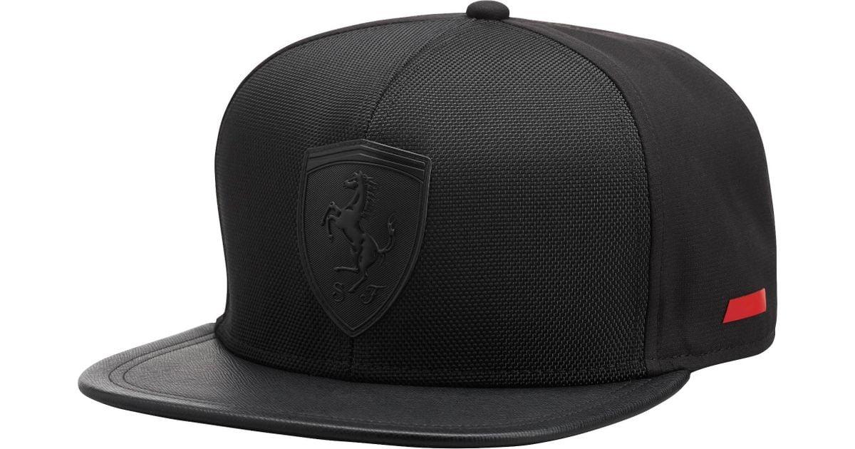 online store 19bc1 66b45 PUMA Ferrari Flat Brim Hat in Black for Men - Lyst