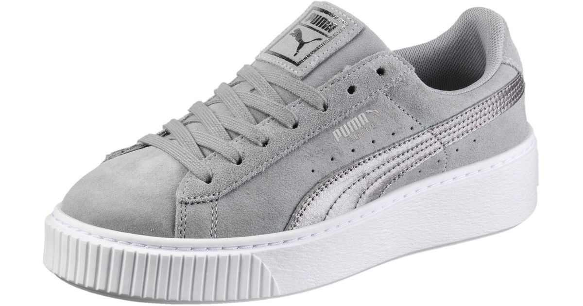 Lyst - PUMA Suede Platform Metallic Safari Women s Sneakers in Gray 11e8affe0e