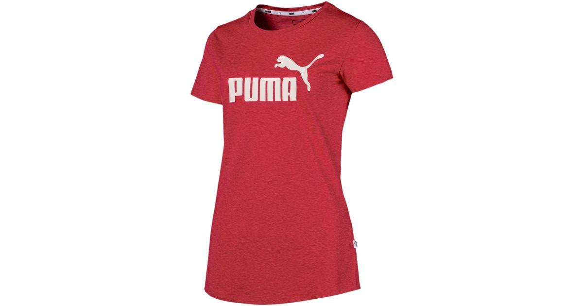 Lyst - PUMA Women s Essentials Heather T-shirt in Red 72c2ce83d