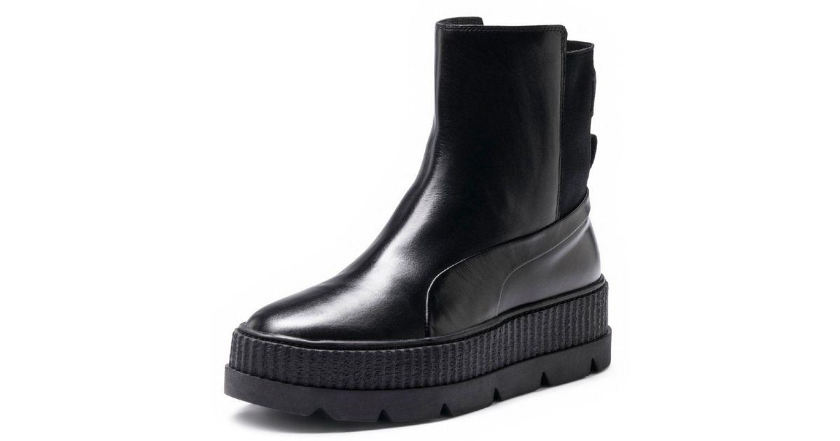 Lyst - PUMA Fenty Women s Chelsea Sneaker Boot in Black 72887e555
