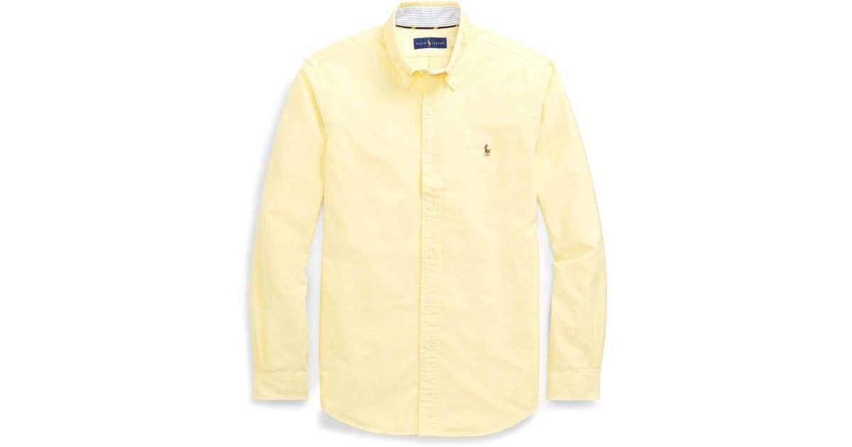 e50f37487 Polo Ralph Lauren Classic Fit Oxford Shirt in Yellow for Men - Lyst